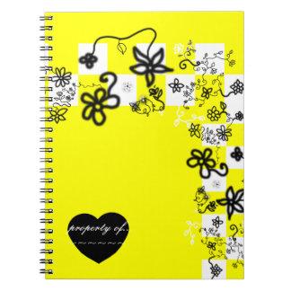 Graffiti Flowers and Checks Notebook