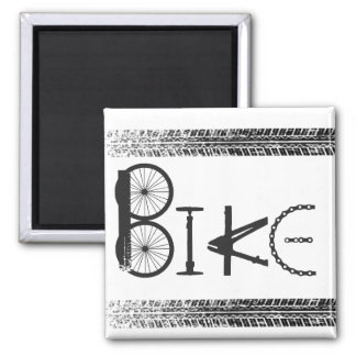 Graffiti from Bike Parts with Tire Tracks 2 Inch Square Magnet