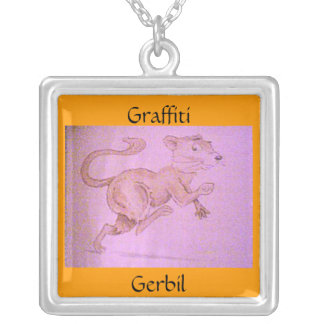 GRAFFITI GERBIL SILVER PLATED NECKLACE