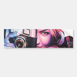 Graffiti Girl Photographer Car Bumper Sticker