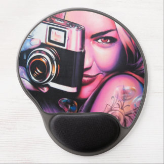 Graffiti Girl Photographer Gel Mouse Pad
