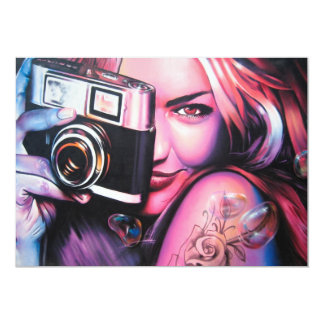 Graffiti Girl Photographer 5x7 Paper Invitation Card