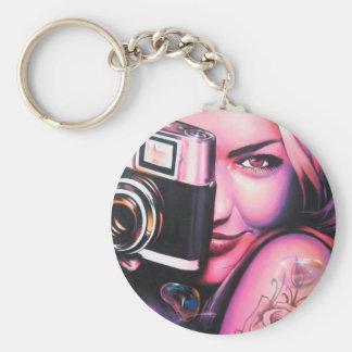 Graffiti Girl Photographer Keychain