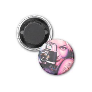 Graffiti Girl Photographer Fridge Magnets