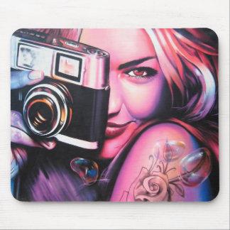Graffiti Girl Photographer Mouse Pad