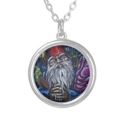 Graffiti Gnome Round Pendant Necklace