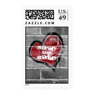 Graffiti Heart Save  the Date Postage