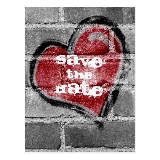 Graffiti Heart Save the Date Postcard