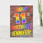 [ Thumbnail: Graffiti Inspired Rainbow Look Happy 11th Birthday Card ]