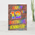 [ Thumbnail: Graffiti Inspired Rainbow Look Happy 12th Birthday Card ]