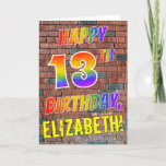 [ Thumbnail: Graffiti Inspired Rainbow Look Happy 13th Birthday Card ]