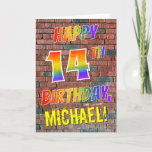 [ Thumbnail: Graffiti Inspired Rainbow Look Happy 14th Birthday Card ]