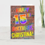 [ Thumbnail: Graffiti Inspired Rainbow Look Happy 15th Birthday Card ]