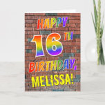 [ Thumbnail: Graffiti Inspired Rainbow Look Happy 16th Birthday Card ]