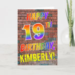 [ Thumbnail: Graffiti Inspired Rainbow Look Happy 19th Birthday Card ]