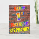 [ Thumbnail: Graffiti Inspired Rainbow Look Happy 1st Birthday Card ]