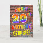 [ Thumbnail: Graffiti Inspired Rainbow Look Happy 20th Birthday Card ]