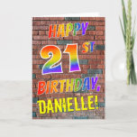 [ Thumbnail: Graffiti Inspired Rainbow Look Happy 21st Birthday Card ]