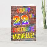 [ Thumbnail: Graffiti Inspired Rainbow Look Happy 22nd Birthday Card ]