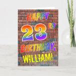 [ Thumbnail: Graffiti Inspired Rainbow Look Happy 23rd Birthday Card ]