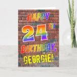 [ Thumbnail: Graffiti Inspired Rainbow Look Happy 24th Birthday Card ]