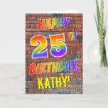 [ Thumbnail: Graffiti Inspired Rainbow Look Happy 25th Birthday Card ]