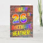 [ Thumbnail: Graffiti Inspired Rainbow Look Happy 26th Birthday Card ]