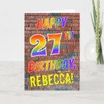 [ Thumbnail: Graffiti Inspired Rainbow Look Happy 27th Birthday Card ]
