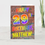 [ Thumbnail: Graffiti Inspired Rainbow Look Happy 29th Birthday Card ]