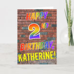[ Thumbnail: Graffiti Inspired Rainbow Look Happy 2nd Birthday Card ]