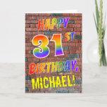 [ Thumbnail: Graffiti Inspired Rainbow Look Happy 31st Birthday Card ]