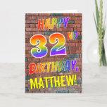 [ Thumbnail: Graffiti Inspired Rainbow Look Happy 32nd Birthday Card ]