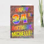 [ Thumbnail: Graffiti Inspired Rainbow Look Happy 34th Birthday Card ]