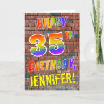 [ Thumbnail: Graffiti Inspired Rainbow Look Happy 35th Birthday Card ]