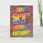 [ Thumbnail: Graffiti Inspired Rainbow Look Happy 37th Birthday Card ]