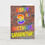 [ Thumbnail: Graffiti Inspired Rainbow Look Happy 3rd Birthday Card ]