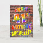 [ Thumbnail: Graffiti Inspired Rainbow Look Happy 41st Birthday Card ]