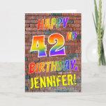 [ Thumbnail: Graffiti Inspired Rainbow Look Happy 42nd Birthday Card ]
