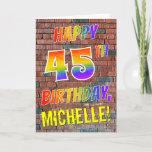 [ Thumbnail: Graffiti Inspired Rainbow Look Happy 45th Birthday Card ]