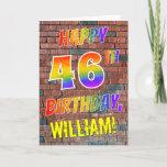 [ Thumbnail: Graffiti Inspired Rainbow Look Happy 46th Birthday Card ]