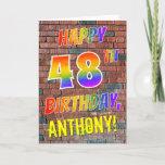 [ Thumbnail: Graffiti Inspired Rainbow Look Happy 48th Birthday Card ]