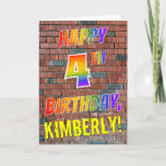 [ Thumbnail: Graffiti Inspired Rainbow Look Happy 4th Birthday Card ]