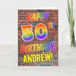 [ Thumbnail: Graffiti Inspired Rainbow Look Happy 50th Birthday Card ]