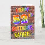[ Thumbnail: Graffiti Inspired Rainbow Look Happy 52nd Birthday Card ]