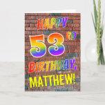 [ Thumbnail: Graffiti Inspired Rainbow Look Happy 53rd Birthday Card ]
