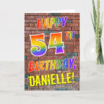 [ Thumbnail: Graffiti Inspired Rainbow Look Happy 54th Birthday Card ]