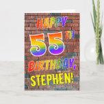 [ Thumbnail: Graffiti Inspired Rainbow Look Happy 55th Birthday Card ]
