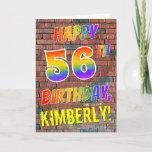 [ Thumbnail: Graffiti Inspired Rainbow Look Happy 56th Birthday Card ]