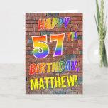[ Thumbnail: Graffiti Inspired Rainbow Look Happy 57th Birthday Card ]