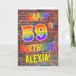 [ Thumbnail: Graffiti Inspired Rainbow Look Happy 59th Birthday Card ]